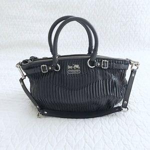 Coach Pleated Leather Handbag Satchel Gray